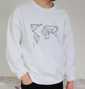Origami World Map Sweatshirt - men's fashion