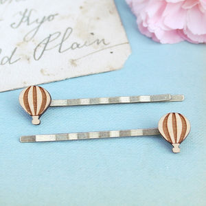 Wooden Hot Air Balloon Hair Grips - hair accessories