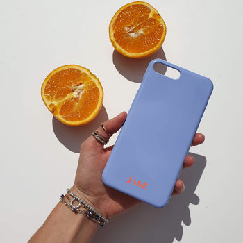 Blue And Terracotta Orange Personalised Phone Case