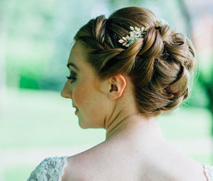 Small Guilded Bridal Floral Hair Combs - bridal hairpieces