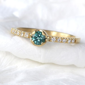 Fair Trade Tourmaline And Diamond Ring In 18ct Gold