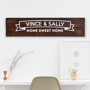 Personalised 'Home Sweet Home' Wooden Sign - shop by subject
