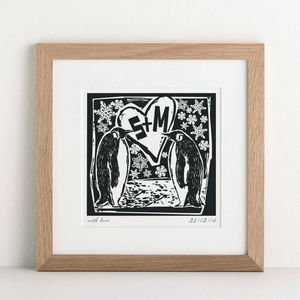 Personalised Penguin Couple's Print - christmas home
