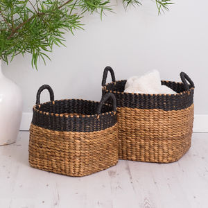 Hyacinth Wicker Storage Baskets Set Of Two