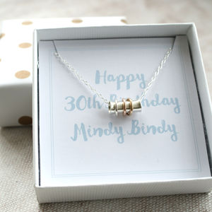 Silver Spinning Birthday Or Anniversary Necklace