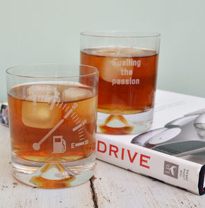 Personalised Etched Fuel Gauge Glass Tumbler - tumblers & Hiballs