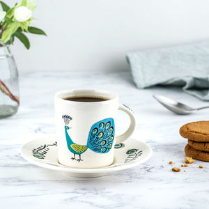 Peacock Espresso Cup And Saucer