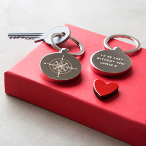 Personalised Compass Valentine's Day Keyring