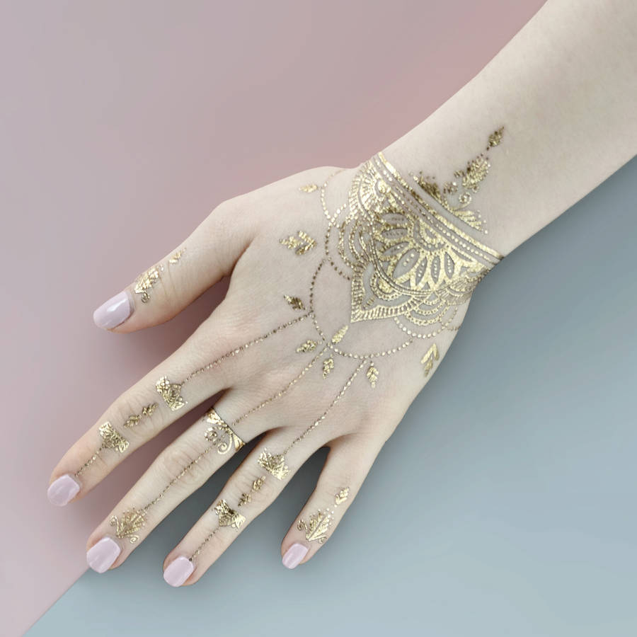 Gold Henna Tattoo: Henna Gold Temporary Tattoo By Paperself