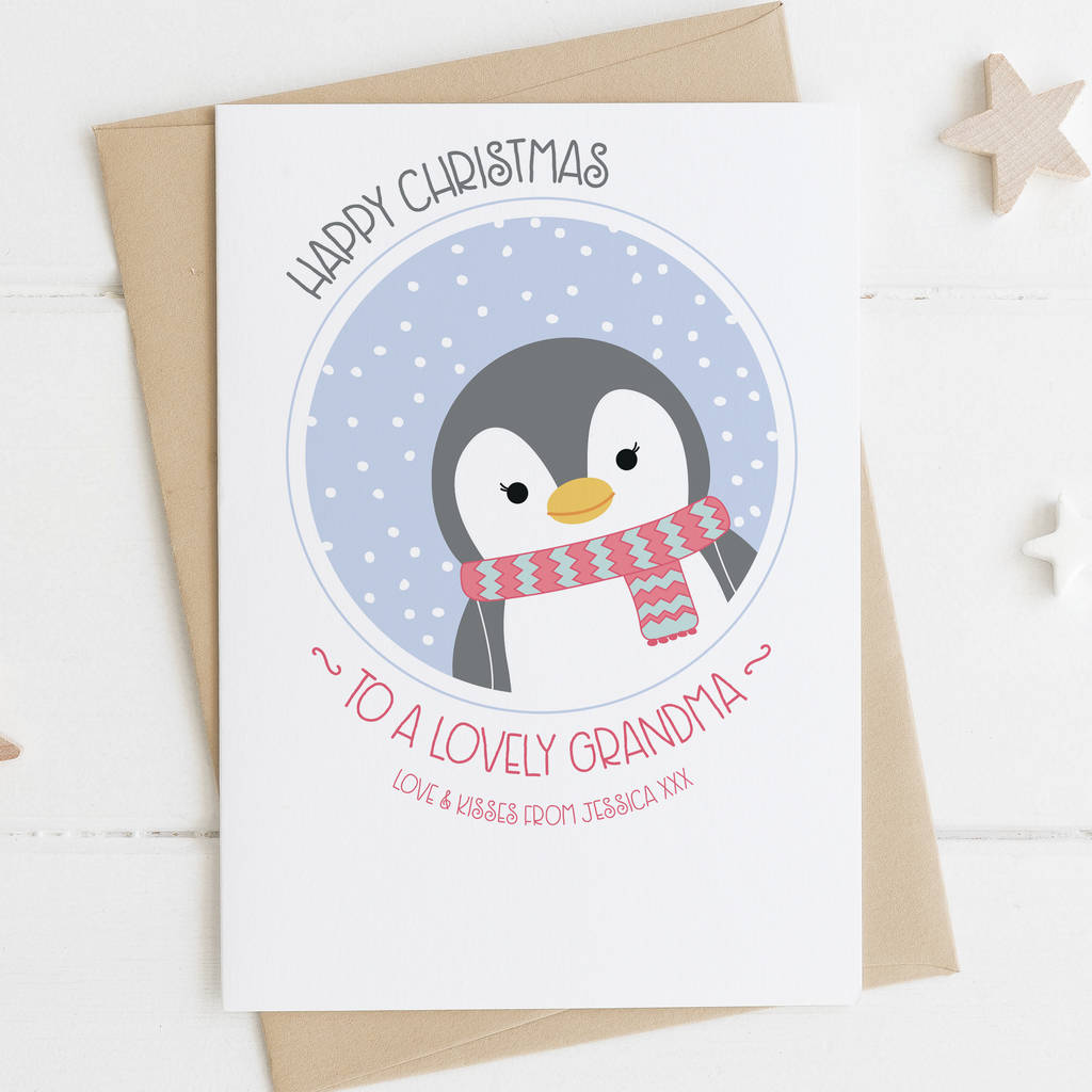 Cute Penguin Christmas Card For Grandma By Wink Design