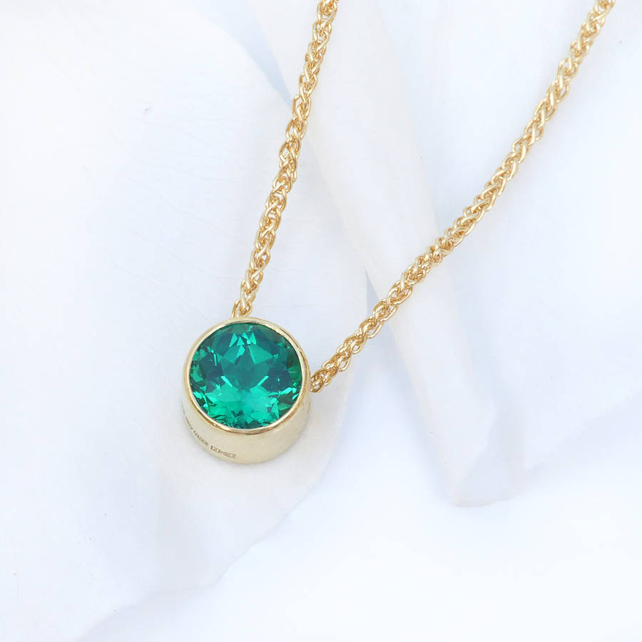 emerald necklace in 18ct gold, may birthstone by lilia ...