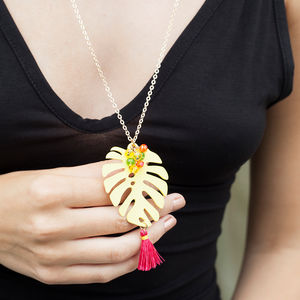 Palm Leaf Long Necklace - necklaces & pendants