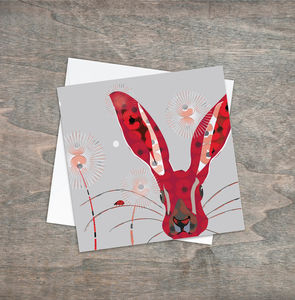 Hare And Poppy Greetings Card