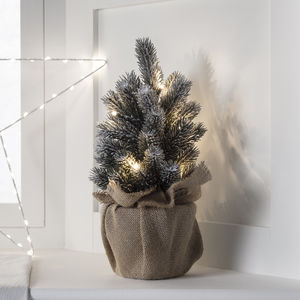 Aspen Pre Lit Mini Frosted Artificial Christmas Tree - christmas trees