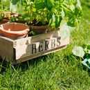 Country Garden Wooden Six Herb Crate With Carry Handles