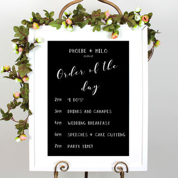 Personalised Wedding Order Of The Day Sign