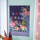 'Love Grows Here' Embroidered Banner