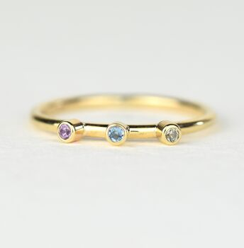 Precious metal genuine birthstone stacking ring