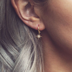 Elsa. Gold Pavé Star Hoop Earrings