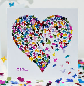 Special Mam Butterfly Heart Card / Mam Birthday Card - birthday cards
