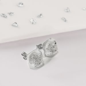 Ashes Or Hair Resin Square Stud Earrings - view all new
