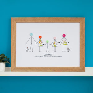 Personalised Family Button Print - family & home