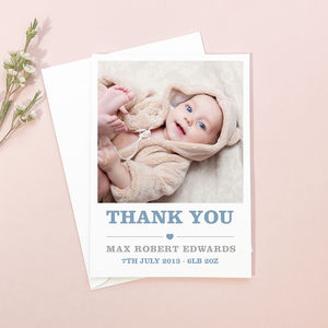 New Baby Heart Motif Thank You Cards