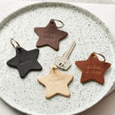 Personalised Leather Star Keyring