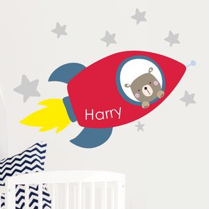 Rocket Name Fabric Wall Stickers - wall stickers