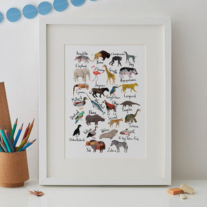 Animal A To Z Alphabet Print