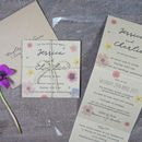 Pressed Flower Tri Fold Wedding Invitation