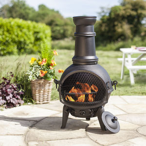 Cast Iron Steel Chiminea With Grill - picnics & barbecues