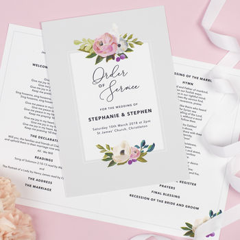 Grey Floral 'Sadie' Order Of Service Booklet