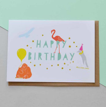 Party Animals Happy Birthday Card
