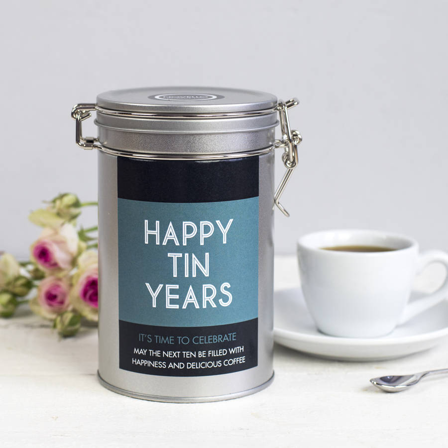 Personalised Anniversary Coffee Gift Tin By Novello