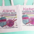 Personalised 'Knitting' Bag - Knitting stuff design - canvas bag on left, cotton bag on right