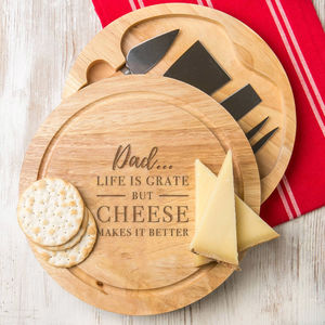 'Life Is Grate' Pun Cheese Board Personalised Gift Set - summer sale