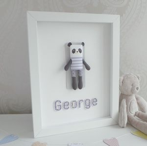 Personalised Framed 3D Paper Panda - mixed media & collage