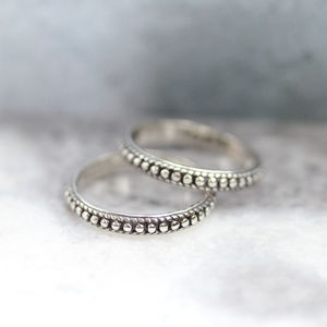Dainty Dotted Band Silver Ring - rings