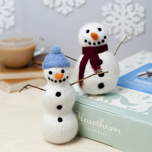 Snowmen Needle Felting Craft Kit - decoration making kits