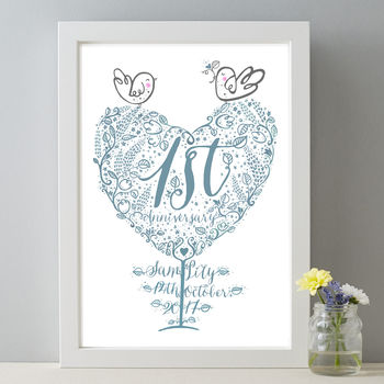 1st Wedding Anniversary Personalised Paper Gift Print