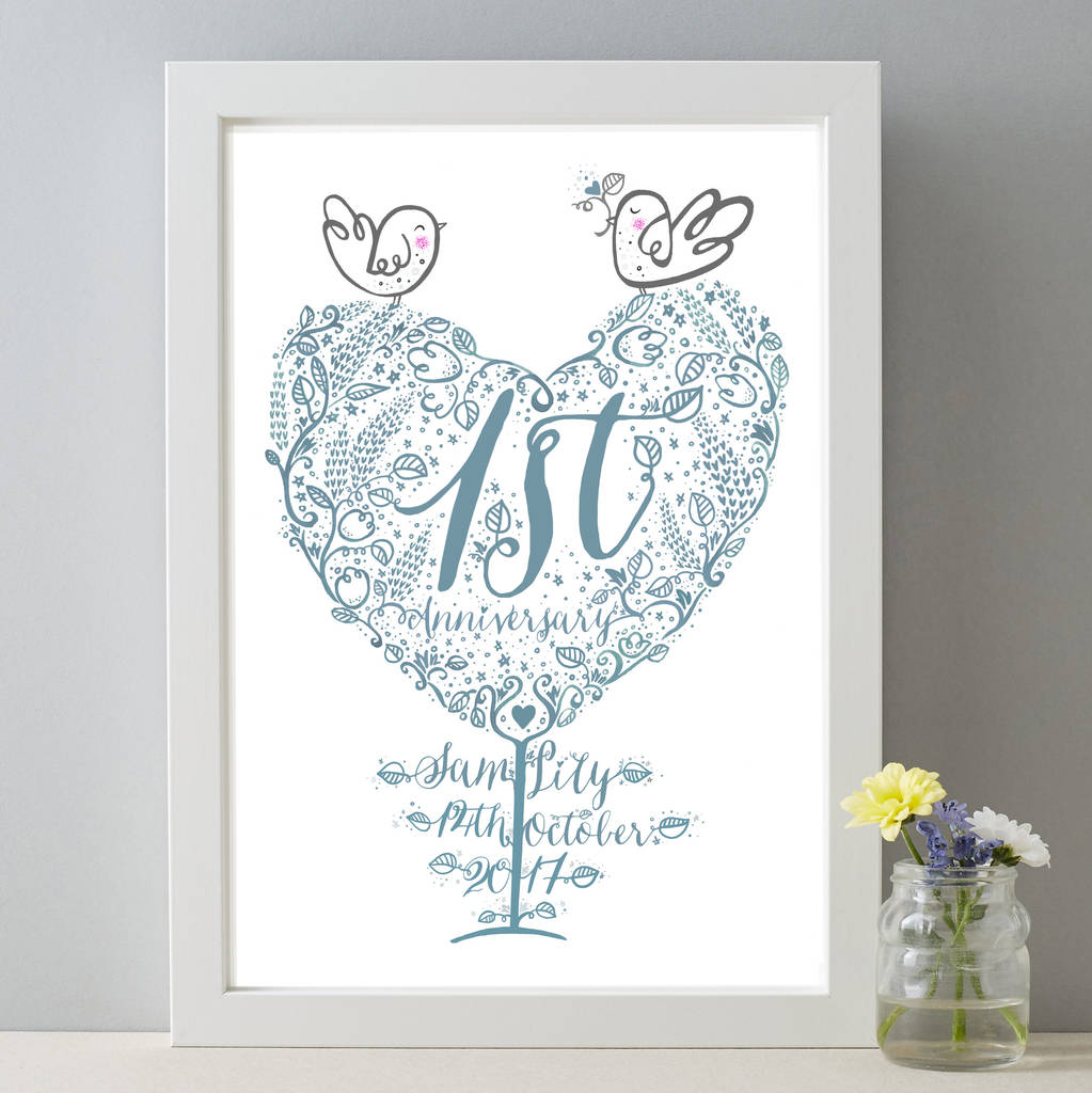 1st wedding anniversary personalised paper gift print by for 1st wedding anniversary gift paper
