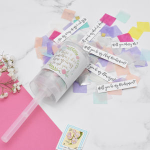 Personalised Floral Secret Question Confetti Pop - be my bridesmaid?