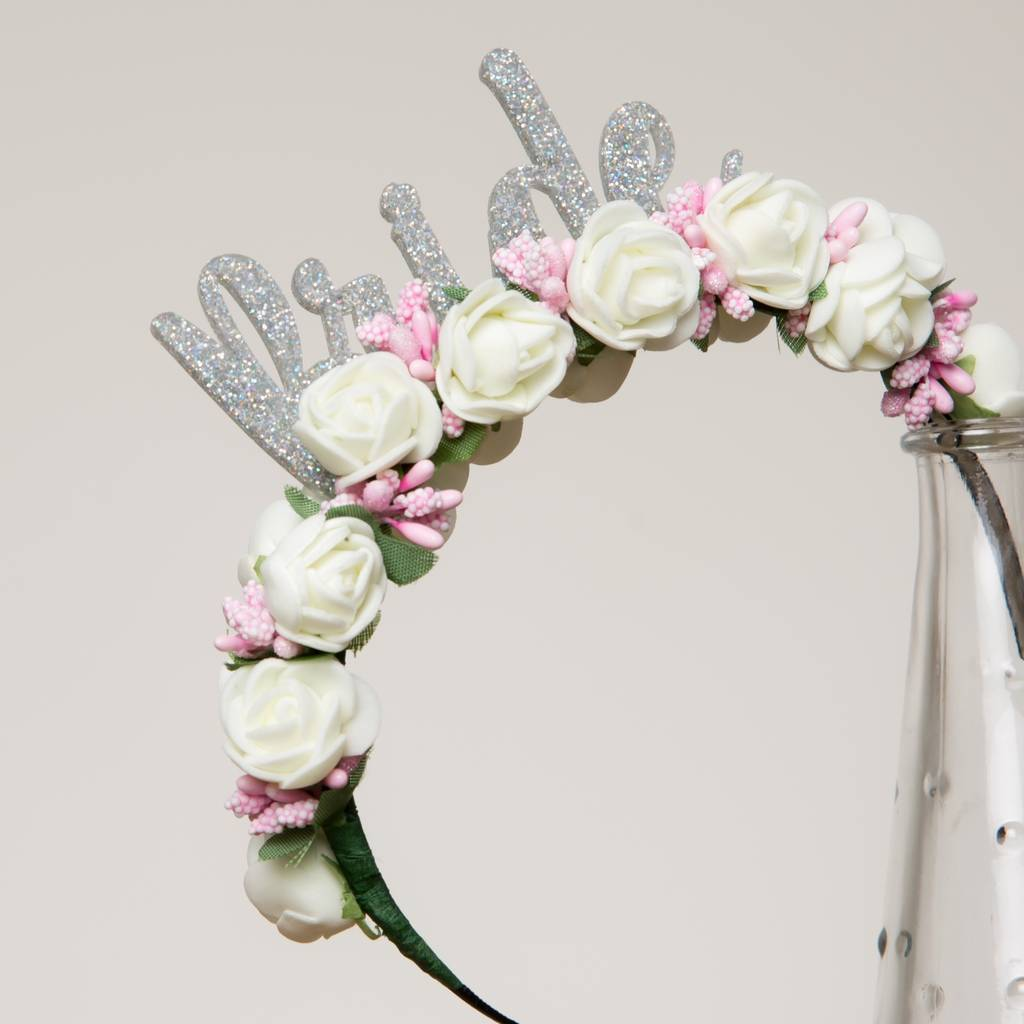 White Bride Hen Party Hen Do Flower Headband Gift By Funky Laser