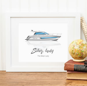 Personalised Boat Illustration Print - sport-lover