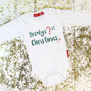 Personalised 1st Christmas Babygrow - new in christmas