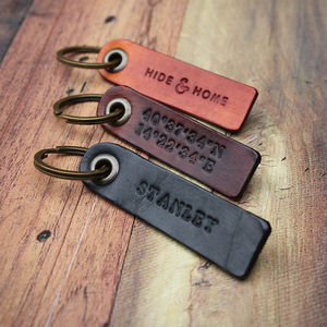 Personalised Leather Key Fob - mens