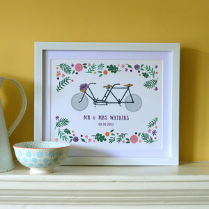 'Tandem Bike Lovers' Personalised Illustrated Print - posters & prints