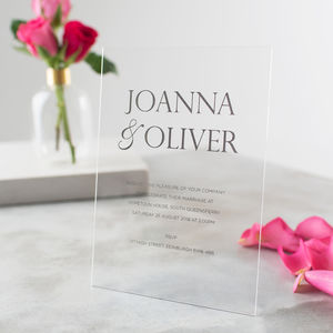 Personalised Acrylic Metallic Wedding Invitations - invitations