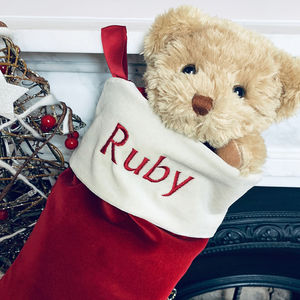 Bertie Bear's Personalised Christmas Stocking In Red - christmas decorations